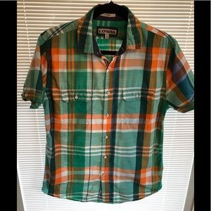 Men's express shirt short sleeve medium plaid